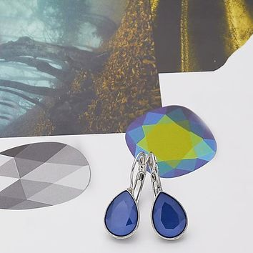 Rhodium Layered Women Teardrop Leverback Earring, with Bermuda Blue Swarovski Crystals, by Folks Jewelry