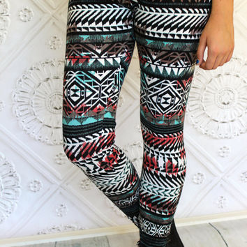 Mint, Aqua, Coral, Rust Black and Soft White Fall Aztec Leggings in Teen to Women's sizes from GreenStyle