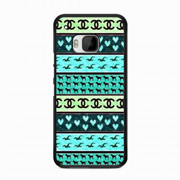 red hollister seagulls chanel sign hearts stripes For HTC One M9 case
