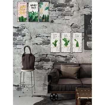 Cactus Pattern Wall Sticker 6pcs