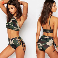 2017 Summer newest Camouflage push up high neck bikinis set high waist grommet strappy women swimwear swimsuit bathing suit