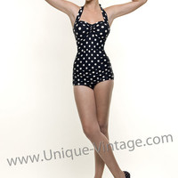 AS SEEN IN COUNTRY LIVING! ESTHER WILLIAMS Vintage Swimsuit 50's Style Pin Up Black Polka Dot Bathing Suit - 6 to 18 - Unique Vintage - Bridesmaid & Wedding Dresses