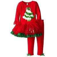 New children's clothing girls clothes Christmas clothes kids tracksuit girl's Christmas tree pattern clothing kids clothes