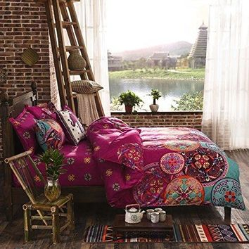 National Style Recto Prune Reversible Duvet Cover with Pillow Sham Boho Mandala Bedding Set