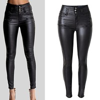 PU Leather High Waist Slim Elastic Pencil Pants