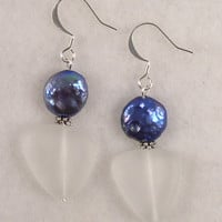 SEAE14 Earring made of Clear Sea Glass and Blue Coin Pearls