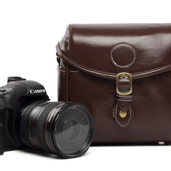 Vintage PU Leather Retro Camera Shoulder Bag DSLR Camera Bag for Nikon Canon Sony Bag 288 Coffee