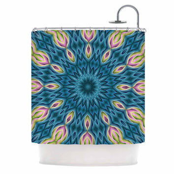"Sylvia Cook ""Zapped Teal"" Blue Teal Shower Curtain"