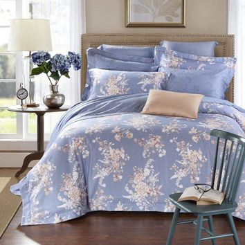 2018 New Luxury Linen and Tencel Bedding Set Satin Duvet Cover Sets Oriental Vintage Style Bed Linen Bedclothes Bed Sheet Gift