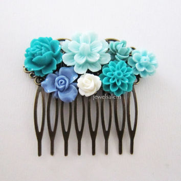 Teal Wedding Hair Comb Aqua Turquoise Seafoam White Blue Bridal Headpiece Floral Flowers Comb Vintage Style Shabby Chic Bridesmaids Gift