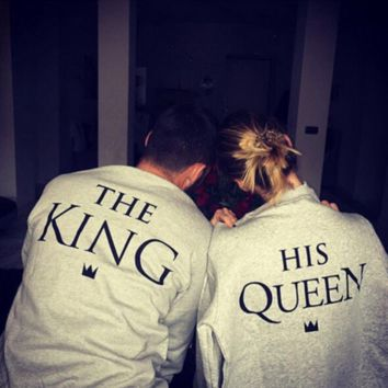 Fashion Casual  KING&QUEEN Monogram Print Long Sleeve Top