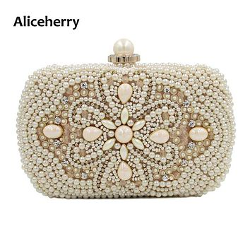 Aliceherry Luxury Evening Bags Women Clutch Bags Party Purse Bags Wedding Bridal Handbag Pearl Beaded Gril Ladies Hand Bags