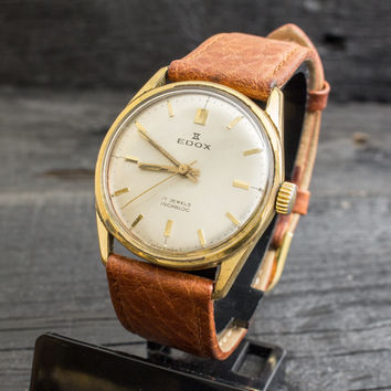 Vintage Edox mens watch, gold plated vintage swiss watch