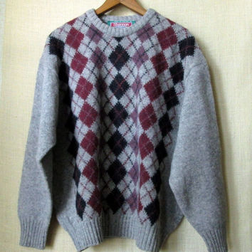 Oversized Sweater Mens Argyle Wool Crewneck pullover boyfriend sweater unisex style grey burgundy heather marled diamond pattern Irish knit