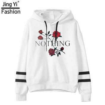 New arrival funny Nothing Letter Print sweatshirt kawaii Rose printing hoodies women 2017 autumn winter casual fleece tracksuits