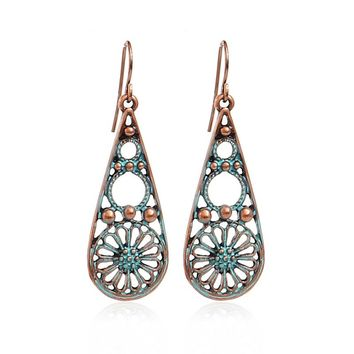 Brincos Vintage Earrings for Women 2017 New Arrival Jewelry Antique Gold-Color Flower Hollow Out Drop Earrings Indian Jewelry