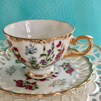 Reticulated Royal Sealy Tea Cup and Saucer, Japanese Teacup Set, Antique Floral China, Gifts for Her, Christmas, Gold Tea Cups