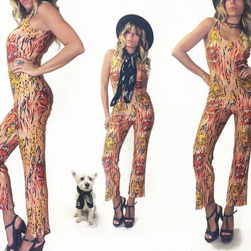 Vintage Rare 1960's CHEETAH Glam Rock Disco Psychedelic Cropped Catsuit || Animal Print Jumpsuit Onesuit Pantsuit  || Size Small to Medium