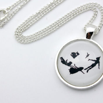 Peter Pan and Tinkerbell Silhouette, Second Star To The Right, Off To Neverland Necklace
