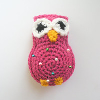 Pink Owl Pincushion, small plush crochet owl pin cushion, ready to ship.