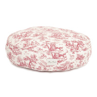 Dog Toile Round Bed | Red