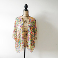 Floral Chiffon Kimono Cardigan/ Bright Chiffon Cardigan/ Summer Wrap/ Boho Chic/ Light Cover Up