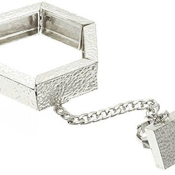 Silvertone Hammered Slave Ring Square Shapes Hand Chain Handcuff Bracelet