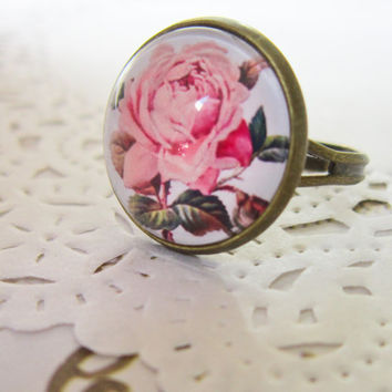 Pink Floral Cameo Ring -  RoseCabochon