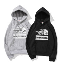 Supreme & The north face New fashion bust letter print thick keep warm couple hooded long sleeve sweater