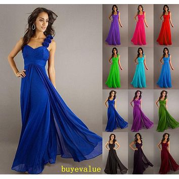 2016 Hot Bride maid two shoulder coral burgundy purple blue black colored chiffon long bridemaid party gown bridesmaid dresses