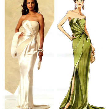 Strapless Evening, Prom WEDDING BRIDAL Bridesmaid Dress -Bias Cut Vogue 8360 Bellville Sassoon Sewing Pattern Size 4-20 Bust 29.5-42 UNCUT