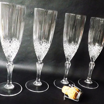 Set 4 Champagne Flutes, Vintage Molded Crystal Stemware, Prosecco Wine Glasses, White Sparkling Wine Glass, Cava, Barware