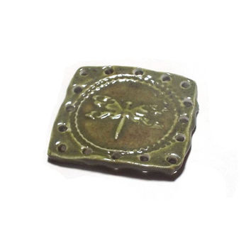 Basket Base 1 Square to Round Dragonfly Ceramic Start for Pine Needle Basket Beading Craft Supply Coiling Whimsical Green Basketry Button