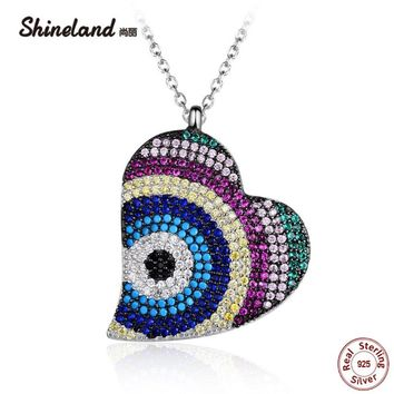 Shineland 2018 Boho Steampunk Micro Pave Colorful CZ Stone Necklace 925 Sterling Silver Heart Necklaces & Pendants Lady Gifts