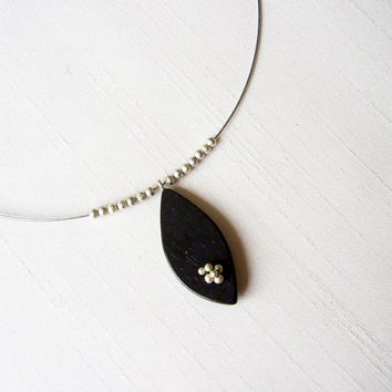 SALE - Sterling Silver and Ebony Leaf Shape Pendant - Petal Everyday Necklace - Stainless steel cord - Delicate Original Contemporary