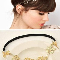 Gold Metal Leaf Headwear with Elastic Headband