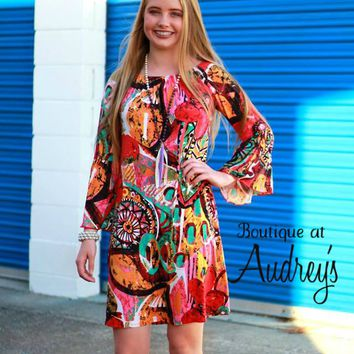 Very Colorful Pink, Yellow, Jade Printed Dress with Wide Ruffle Sleeves