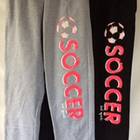 Soccer Sweatpants with Hot PInk/Coral and White Print