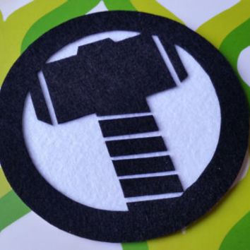 Thor's Hammer Inspired Adhesive Patch / Magnet - Avengers Superhero Sticky Felt Patch / Sticker
