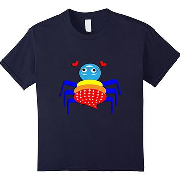 Kids Funny Whimsical Spider Illustration Colorful Graphic T-Shirt