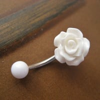 Rose Belly Button Ring Jewelry- White Rose Bud Rosebud Flower Navel Stud Piercing Bar Barbell