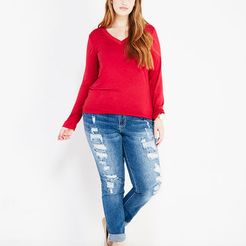 Plus Size Solid V-Neck Tee With Long Sleeves | Wet Seal Plus
