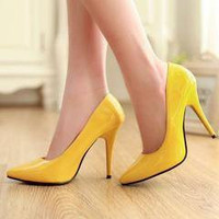 Stiletto Pointed Toe Sexy Patent Leather Thin Heels