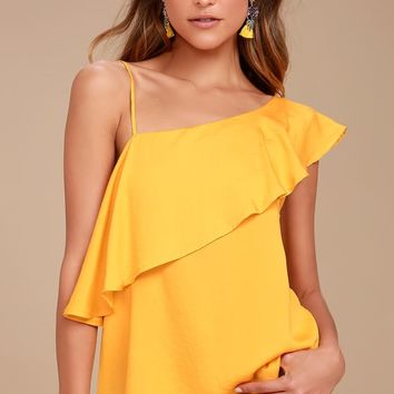 Chic Frills Yellow Satin One Shoulder Top