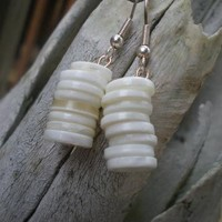 Stack Obuttons earrings by lucysbeadstudio on Zibbet