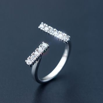 "Fashion zircon ""T"" 925 sterling sliver ring,a perfect gift"