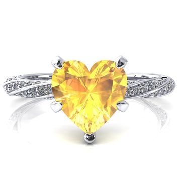 Elysia Heart Yellow Sapphire 5 Prong 3/4 Eternity Diamond Accent Ring