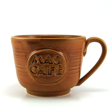 Large Ceramic Coffee Mug: Brown Mas Café (More Coffee in Spanish), Handmade Pottery Gift for Him or Her by MiriHardyPottery