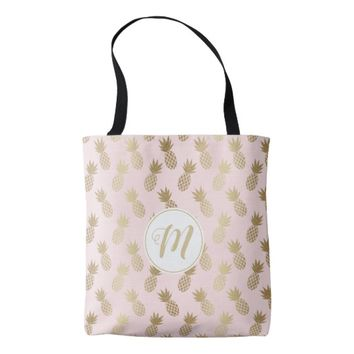 Gold Pineapple Pattern & Monogram Tote Bag