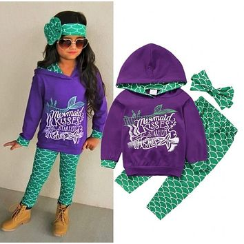 Baby Girls Autumn Winter Hoodies Sets New Style Mermaid Casual Hooded Tops And Legging Pants 3PCS Outfits Set Clothes